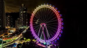 Turistas ficam presos na roda gigante.